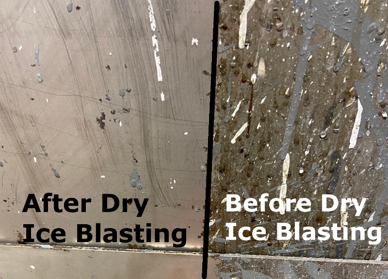 Side-by-side comparison for dry ice blasting